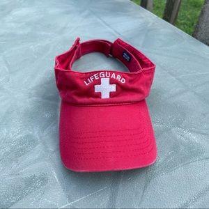 Vintage classic red lifeguard visor hat